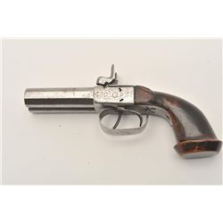 18ASS-3 DOUBLE PERCUSSIONDouble SxS percussion pistol, engraved, wood  grip, in overall fair to good