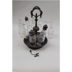 17LW-15 CRUET SETCruet set , signed, patent reissued Dec. 27,  1854. 8 bottles, 2 missing tops, mino