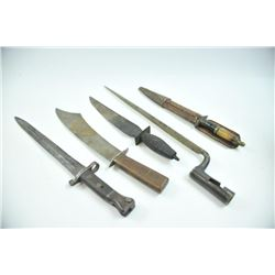 17JR-220 KNIFE LOTLot of 5 knives and bayonet. Chinese knife  with flared blade. Another crude Asian