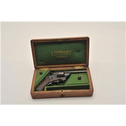 18AR-49 CASED REVFrench Perrin pocket DA revolver, 9mm  caliber, blued finish, wood grips, contained
