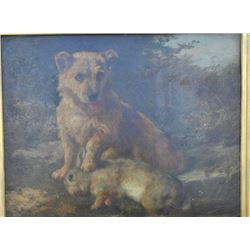 EVE-103 OIL ON BOARD19th century oil on board showing terrier  with rabbit. No signature visible but