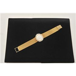 18BZ-7 LADIES WRISTWATCH18KT ladies wristwatch with topline diamonds  and Lucien Picard movement. Pu