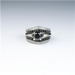 18CAI-18 BLACK DIAMOND RINGClassic Platinum 14 karat white gold wedding  set featuring a round Black