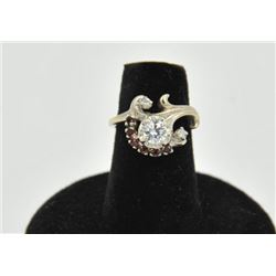 18RPS-27 DIAMOND & RUBY RINGOne approx 0.60ct diamond set in a vintage  art deco ring surrounded by