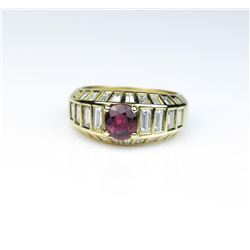 18CAI-36 RUBY RINGStriking ring featuring a Fine Red Ruby  actual weight 0.96 carats set with 28  ba