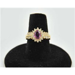 18PRS-13 SAPPHIRE RINGOne ladies ring in 14k yellow gold set with  purple sapphire weighing approx 1