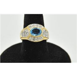 18RPS-18 AQUAMARINE & DIAMOND RINGOne ladies ring in 14k yellow gold set with  an oval aquamarine ap