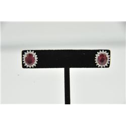 18RPS-1 RUBY & DIAMOND EARRINGSOne pair of ruby and diamond earrings set in  18k white gold. Two ova