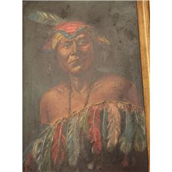 18CA-24 OIL PAINTINGExcellent oil painting on board of California  Native Indian attributed to E.A.