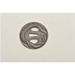18CF-12 HAND FORGED IRON TSUBANicely forged and formed iron Tsuba with  intertwined snakes for wakas
