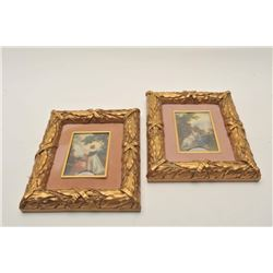 "18CA-339 2 MINIATURE PAINTINGSLot of 2 miniature paintings in ornate  frames. Signed lower right ""Re"