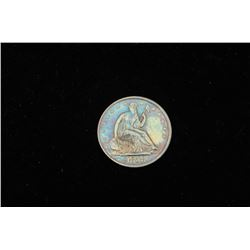17HD-109 1858 HALF DOLLAR1858 seated liberty half dollar. AU-55 plus  (Sleeper). Blue toned. Not pro