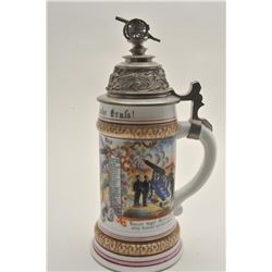 EVE-407 AUTHENTIC HAND PTD IMPERIAL ERA STEINAuthentic hand painted Imperial era German  stein for ""