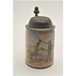 EVE-410 CERAMIC BEER MUGCeramic beer mug with hand painted scene of  tired hunters in German dress.