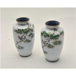 EVE-411 PAIR OF HIGH QUALITY VASESPair of high quality vases probably Japanese.  Silvered on brass r