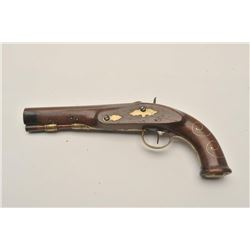 18AR-62 GOZE A METZ PERCGermanic flintlock pistol converted to  percussion and signed in gold on the