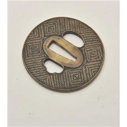 EVE-420 BASKET WEAVE DESIGN TSUBABasket weave design cast brass tsuba for  wakasashi (Japan). Hand c