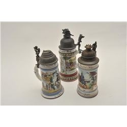EVE-425 IMPERIAL STYLE STEIN LOTLot of 3 Imperial style beer steins with  damaged lids. Bodies good