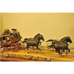 18AP-75 LARGE STAGE COACHUnusually large finely constructed wood  carved Overland Stage Line Coach w