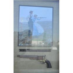 """18AP-76 DISPLAYBeautifully deep framed and matted large  display entitled """"THE WEST WASN'T WON WITH"""