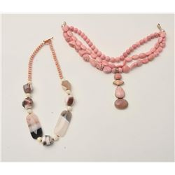 17LP-19 NECKLACE LOTLot of two beautiful coral and polished stone  necklaces.  The first features wh