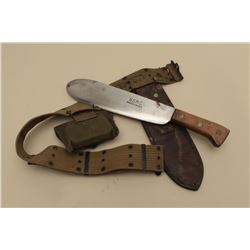 17JL-9 USMC BOLOU.S.M.C. bolo knife with 1942-dated leather  scabbard, web belt and web pouch with f