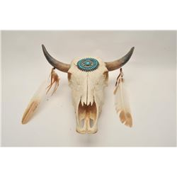 18AP-67 CEREMONIAL COW SKULLCeremonial cow skull with a silver and  turquoise decoration and turkey