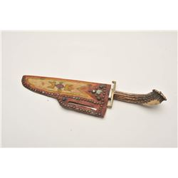 18AP-51 INDIAN KNIFE20th Century Indian knife with stag grip and  painted hide sheath; approximately