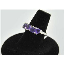 18RPS-41 AMETHYST RINGOne ladies ring set with 5 trilliant amethyst  in white gold EST:$225-450