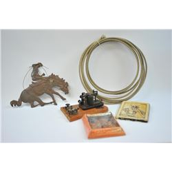 17LW-14 WESTERN THEME LOTWestern Theme lot, Door knocker, metal plaque  of Roper, Whip of branded le