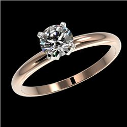 0.78 CTW Certified H-SI/I Quality Diamond Solitaire Engagement Ring 10K Rose Gold - REF-85X5T - 3638