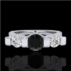 2.3 CTW Fancy Black Diamond Solitaire Micro Pave 3 Stone Ring 18K White Gold - REF-200W2H - 37639