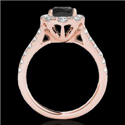 2 CTW Certified Vs Black Diamond Solitaire Halo Ring 10K Rose Gold - REF-102T4X - 34082