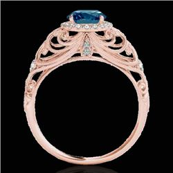 1.22 CTW SI Certified Fancy Blue Diamond Solitaire Halo Ring 10K Rose Gold - REF-170X9T - 33784