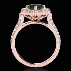 2.81 CTW Certified Vs Black Diamond Solitaire Halo Ring 10K Rose Gold - REF-136R5K - 33962