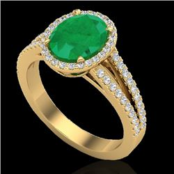 3 CTW Emerald & Micro VS/SI Diamond Halo Solitaire Ring 18K Yellow Gold - REF-78K2R - 20939