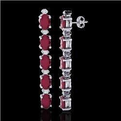 17.97 CTW Ruby & VS/SI Certified Diamond Tennis Earrings 10K White Gold - REF-130H2W - 29487