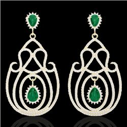 6.40 CTW Emerald & Micro Pave VS/SI Diamond Certified Earrings 14K Yellow Gold - REF-303K5R - 22426