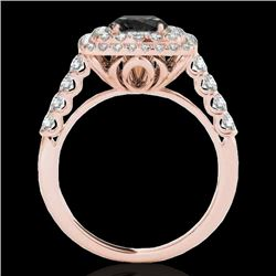 2.05 CTW Certified Vs Black Diamond Solitaire Halo Ring 10K Rose Gold - REF-114M2F - 34589