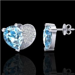 2.50 CTW Sky Blue Topaz & Micro Pave VS/SI Diamond Certified Earrings 10K White Gold - REF-30T2X - 2