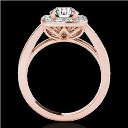 1.55 CTW H-SI/I Certified Diamond Solitaire Halo Ring 10K Rose Gold - REF-174F5M - 34239