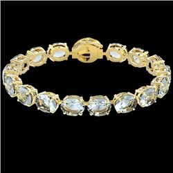 60 CTW Aquamarine & Micro VS/SI Diamond Halo Designer Bracelet 14K Yellow Gold - REF-616K8R - 22253