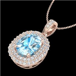 3 CTW Blue Topaz & Micro Pave VS/SI Diamond Certified Halo Necklace 10K Rose Gold - REF-65Y5N - 2040