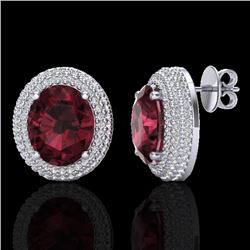 9 CTW Garnet & Micro Pave VS/SI Diamond Certified Earrings 18K White Gold - REF-153W5H - 20226