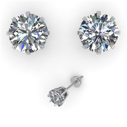 3.09 CTW VS/SI Diamond Stud Solitaire Earrings 18K White Gold - REF-957T2X - 35700