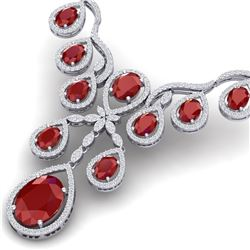 37.66 CTW Royalty Ruby & VS Diamond Necklace 18K White Gold - REF-963T6X - 38559