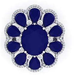 20.63 CTW Royalty Sapphire & VS Diamond Ring 18K White Gold - REF-309H3W - 39144