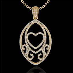 1.75 CTW Micro Pave VS/SI Diamond Designer Heart Necklace 18K Yellow Gold - REF-186H4W - 22590