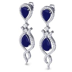 16.57 CTW Royalty Sapphire & VS Diamond Earrings 18K White Gold - REF-327Y3N - 39516