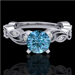 1.01 CTW Fancy Intense Blue Diamond Solitaire Art Deco Ring 18K White Gold - REF-143Y6N - 38272